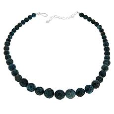 Jay King Sterling Silver Graduated Teal Green Apatite Bead Necklace