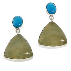 Jay King Sterling Silver Green Prehnite and Turquoise Drop Earrings