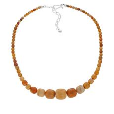 Jay King Sterling Silver Honey Stone Beaded Necklace