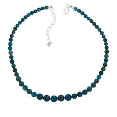 Jay King Sterling Silver Indigo Blue Apatite Graduated Bead Necklace
