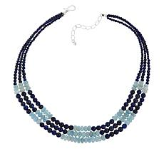 Jay King Sterling Silver Lapis and Aquamarine Bead 3-Strand Necklace