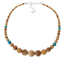 Jay King Sterling Silver Larch Calcite and Turquoise Bead Necklace