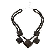 Jay King Sterling Silver Multi-Color Brown Wooden Stone Necklace