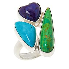 Jay King Sterling Silver Multi-Color Turquoise 3-Stone Ring
