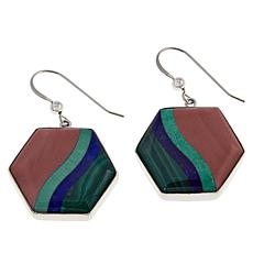 Jay King Sterling Silver Multi-Gemstone Inlay Hexagon Drop Earrings