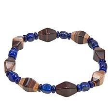 Jay King Sterling Silver Okapi Stone and Lapis Bead Stretch Bracelet
