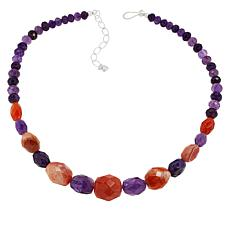 Jay King Sterling Silver Orange Chalcedony and Amethyst Bead Necklace