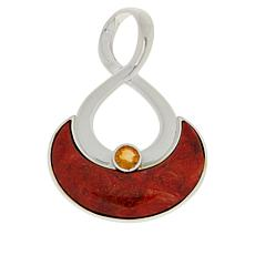 Jay King Sterling Silver Orange Coral and Citrine Pendant