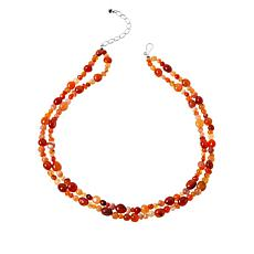 Jay King Sterling Silver Orange/Red Chalcedony 2-Strand Bead Necklace