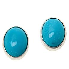 Jay King Sterling Silver Oval White Cloud Turquoise Stud Earrings