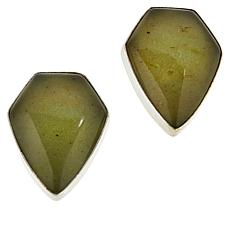Jay King Sterling Silver Pentagonal Moss Amber Stud Earrings
