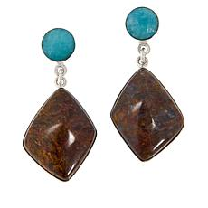 Jay King Sterling Silver Pietersite and Amazonite Earrings