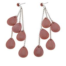 Jay King Sterling Silver Pink Opal Dangle Earrings