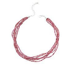 Jay King Sterling Silver Pink Tourmaline Bead 6-Strand Necklace