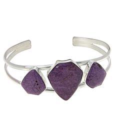 Jay King Sterling Silver Purple Stichtite 3-Stone Cuff Bracelet