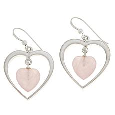 Jay King Sterling Silver Rose Quartz Heart Drop Earrings