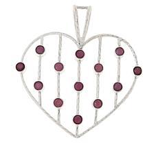 Jay King Sterling Silver Ruby Multi-Stone Open Heart Pendant