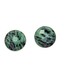 Jay King Sterling Silver Ruby Zoisite Button Earrings