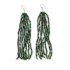 Jay King Sterling Silver Ruby Zoisite Multi-Strand Tassel Earrings