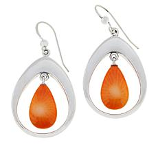 Jay King Sterling Silver Salmon Coral Pear Drop Earrings