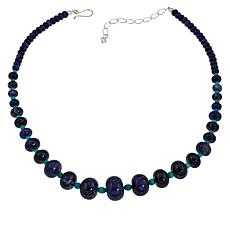 Jay King Sterling Silver Sodalite and Andean Turquoise Beaded Necklace