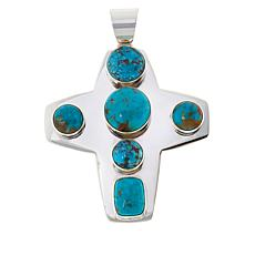 Jay King Sterling Silver Sonoran Blue Turquoise Cross Pendant