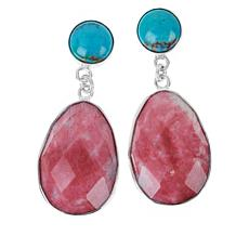 Jay King Sterling Silver Thulite and Turquoise Drop Earrings
