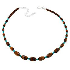 Jay King Sterling Silver Tiger's Eye and Turquoise Bead Necklace