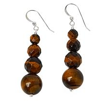 Jay King Sterling Silver Tiger's Eye Quartz Bead Drop Earrings