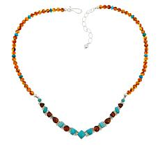 Jay King Sterling Silver Turquoise and Amber Necklace
