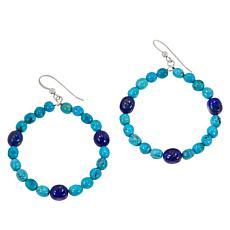 Jay King Sterling Silver Turquoise and Lapis Bead Hoop Drop Earrings