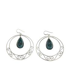 Jay King Teal Apatite Sterling Silver Scrollwork Hoop Drop Earring