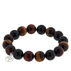Jay King Tiger and Hawk's Eye Bead Stretch Bracelet with Charm