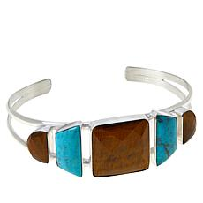 Jay King Tiger's Eye and Andean Turquoise Cuff Bracelet