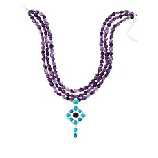 "Jay King Turquoise and Amethyst Drop 18"" Sterling Silver Necklace"