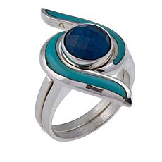 Jay King Turquoise and Apatite 2-piece Interlocking Ring Set
