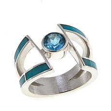 Jay King Turquoise and Blue Topaz Sterling Silver Ring
