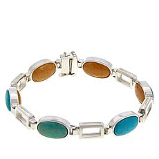 Jay King Turquoise and Butterscotch Amber Reversible Link Bracelet