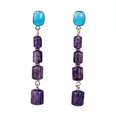 Jay King Turquoise and Purple Charoite Drop Sterling Silver Earrings