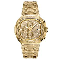 "JBW ""Heist"" Men's Goldtone .20ctw Diamond Bracelet Watch"