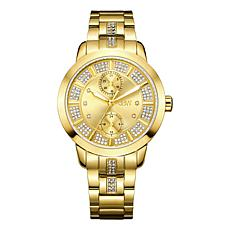"JBW ""Lumen"" 6-Diamond Goldtone Dial Goldtone Stainless Steel Watch"