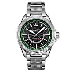 "JBW Men's ""Globetrotter"" 21-Diamond Silvertone GMT Bracelet Watch"