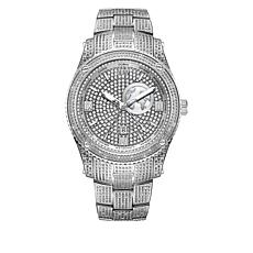 "JBW Men's ""Jet Setter"" Silvertone 1ctw Diamond Bracelet Watch"