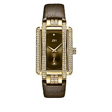 "JBW ""Mink"" Goldtone Women's 2-Diamond Brown Leather Watch"