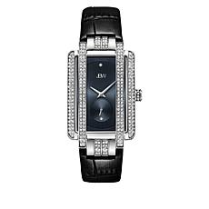 "JBW ""Mink"" Silvertone Women's 2-Diamond Black Leather Watch"