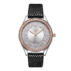 "JBW ""Mondrian"" Women's 10-Year Anniversary 12-Diamond Leather Watch"