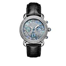 "JBW ""Victory"" 16-Diamond Black Leather Watch"