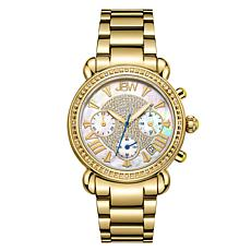"JBW ""Victory"" 16-Diamond Goldtone Stainless Steel Bracelet Watch"