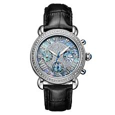 JBW Victory 16-Diamond Stainless Steel Black Leather Chronograph Watch