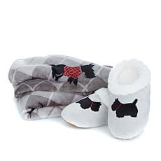 Jeffrey Banks Holiday Prints Throw and Slippers Set